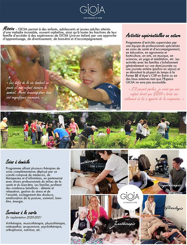 Offre de GIOIA - Les Enfants GIOIA - Organisme d'émergence pour enfantset jeunes adultes atteints de maladiesorphelines ou incurables